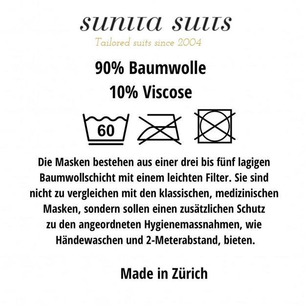 Masque en tissu de haute qualité avec sac protecteur hygiénique, noir- made in Zurich